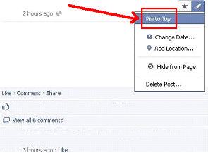Engage Facebook Pin to Top