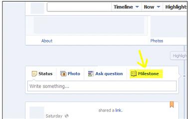 Facebook Timeline Milestone Feature