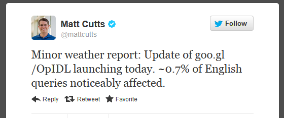 Matt Cutts EMD Twitter Update