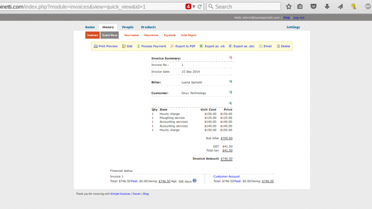 SimpleInvoices Example