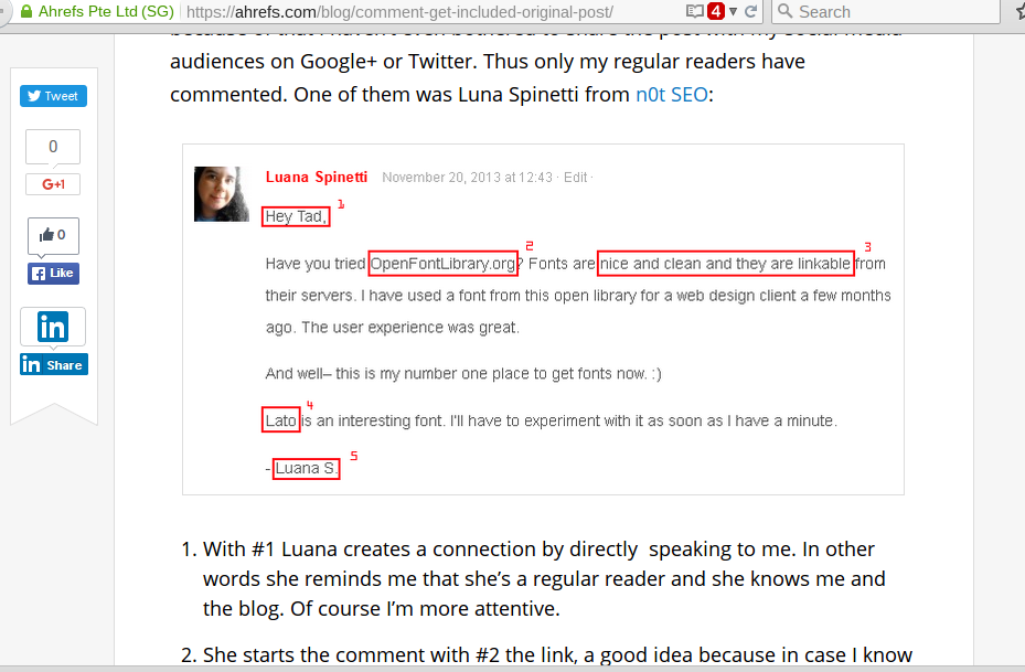 An example of a helpful and relevant comment backlink