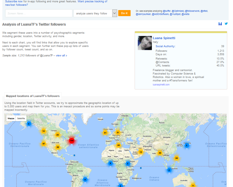Followerwonk Twitter Profile Data Overview and Map