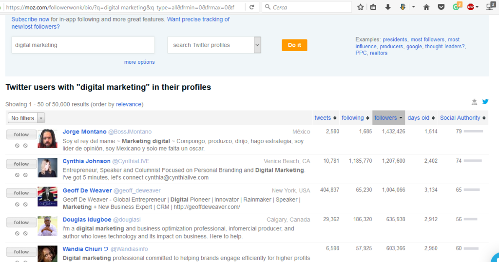 Followerwonk Search by Keyword or Topic