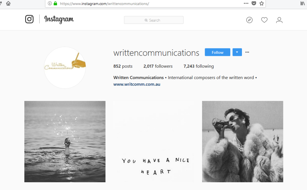 Written Communications on Instagram